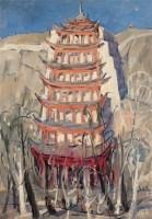 夏培耀 1981年作 莫高窟九层楼 纸本油画 -  - 中国传统油画 - 2006秋季艺术品拍卖会 -收藏网