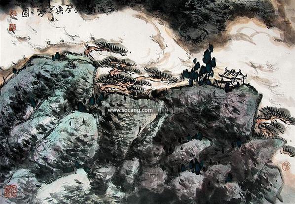 山水 镜心 设色纸本 - 124247 - 中国油画 闽籍书画 中国书画 - 2008秋季艺术品拍卖会 -收藏网