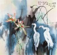 友荷 镜框 设色纸本 - 116723 - 中国书画、油画 - 2011冬季古今艺术品拍卖会 -收藏网
