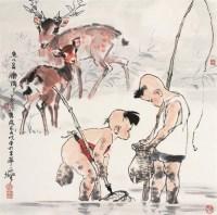 李延声 捕鱼图 立轴 设色纸本 - 李延声 - 中国书画 - 2006首届艺术品拍卖会 -收藏网