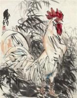 竹影雄鸡图 镜片 设色纸本 - 7693 - 中国书画(一) - 2011年秋季艺术品拍卖会 -收藏网
