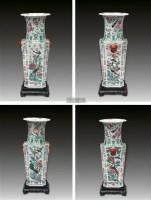 嘉庆粉彩百鸟朝凤四方瓶 (一件) -  - 古董珍玩 - 2011年秋季艺术品拍卖会 -收藏网