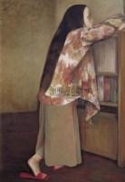 宫立龙 看书的女孩 布面油画 - 155172 - 中国油画 - 2006秋季艺术品拍卖会 -收藏网