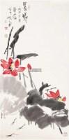 荷花 托片 纸本 -  - 当代绘画专场(四) - 2011秋季拍卖会 -收藏网