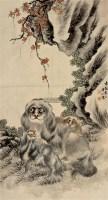 太狮少狮 立轴 设色纸本 -  - 中国书画 - 2011秋季拍卖会 -收藏网