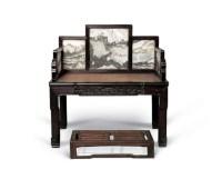 清 红木嵌云石禅凳 -  - 明清古典家具 - 2007春拍瓷器雅玩家具拍卖 -收藏网