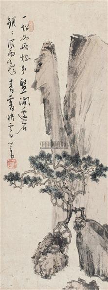 松石图 立轴 设色纸本 - 1518 - 小品专场 - 首届艺术品拍卖会 -收藏网