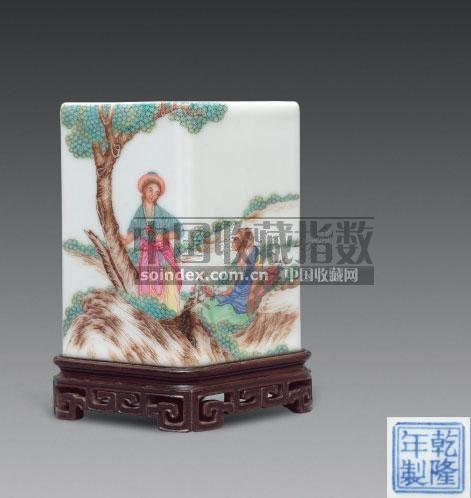 珐琅彩西洋人物菱形笔筒 - - 古代瓷器工艺品专场 - 2008春季艺术品拍