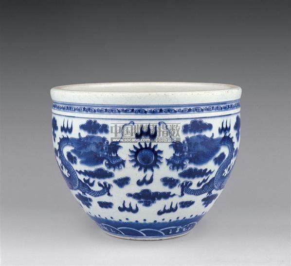 青花龙纹缸 -  - 瓷器 玉器 杂项 - 2006年夏季拍卖会 -收藏网