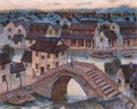 古镇余辉 布面油画 - 4322 - 中国油画 - 2005秋季大型艺术品拍卖会 -收藏网