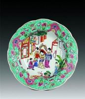 粉彩仕女人物花口盘 -  - 瓷玉珍玩·古籍善本 - 第18期艺术精品拍卖会 -收藏网
