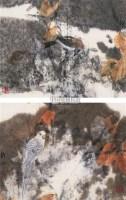 花鸟 (二帧) 镜心 设色纸本 - 123474 - 中国当代书画 - 2009春季拍卖会 -收藏网