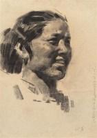《毛主席视察广东农村》·妇女主任素材之一 纸本素描 - 陈衍宁 - 中国油画及雕塑 - 2006年春季拍卖会 -收藏网