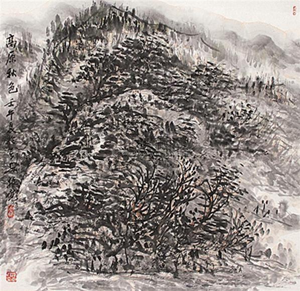 高原秋色 立轴 设色纸本 - 114802 - 中国书画 - 2009年夏季拍卖会 -收藏网