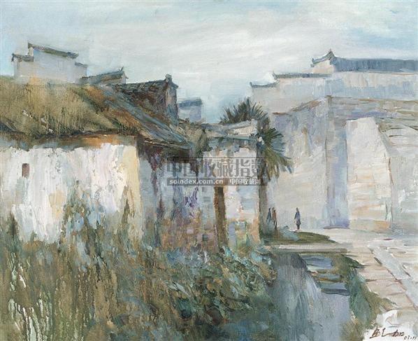 白墙黑瓦 布面 油画 - 140046 - 中国油画 - 2006秋季大型艺术品拍卖会 -收藏网
