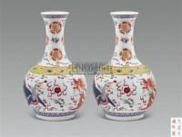 粉彩龙凤纹赏瓶 (一对) -  - 古董珍玩 - 2011春季艺术品拍卖会 -收藏网