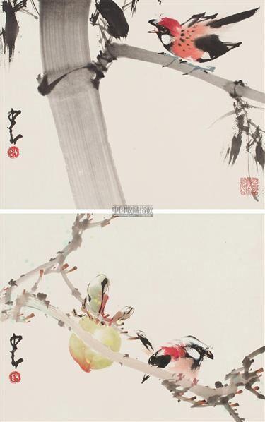 花鸟 (两幅) 镜片 设色纸本 - 135045 - 中国书画 - 2011秋季拍卖会 -收藏网
