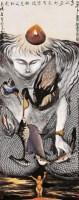 陈国勇 己巳(1989年)作 鸟 人 鱼 立轴 设色纸本 - 陈国勇 - 中国当代书画 - 2006秋季拍卖会 -收藏网