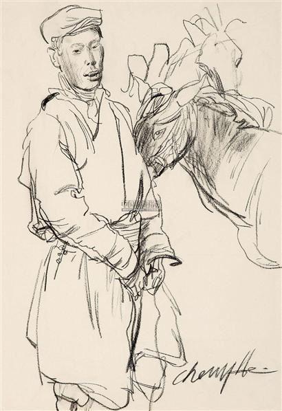 牧民图 素描 - 153322 - 华人西画 - 2012年秋季暨十周年庆大型艺术品拍卖会 -中国收藏网