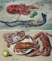 龙虾与虾螃蟹 油画画板,粉彩纸本 -  - 现代及当代东南亚艺术 - 2013年春季拍卖会 -收藏网