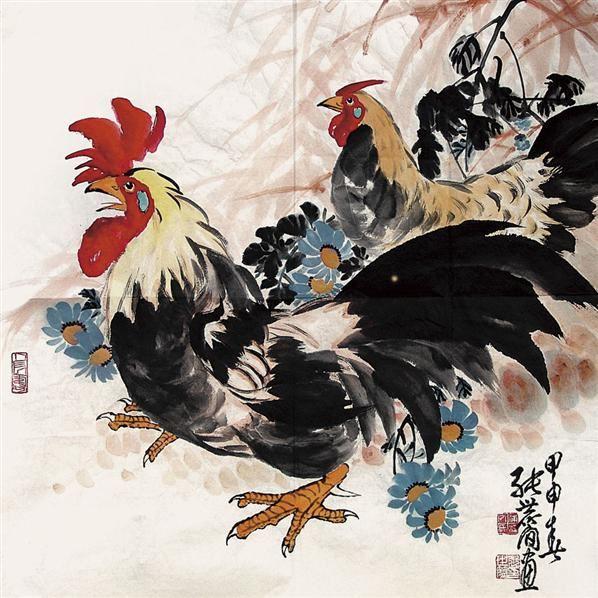 动物 国画 鸡 598_598