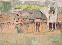 河边古镇 油彩 纸本 - 罗尔纯 - 中国现当代美术-油画雕塑 - 2013春季拍卖会 -收藏网