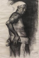 半身男人体 素描  纸本 - 4665 - 中国油画雕塑 - 2012年春季大型艺术品拍卖会 -收藏网