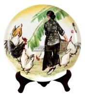 黄胄 手绘饲鸡图瓷盘 -  - 中国书画 - 2012秋季拍卖会 -收藏网