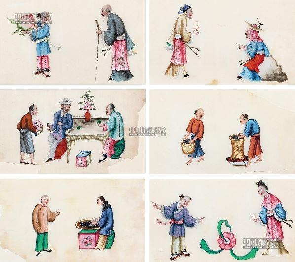 通草画仙家人物,采茶图 (六幅) 镜框