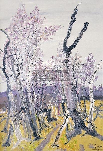 油画棒唯美风景画教程,森林油画风景作品,油画棒风景画手绘教程,油画