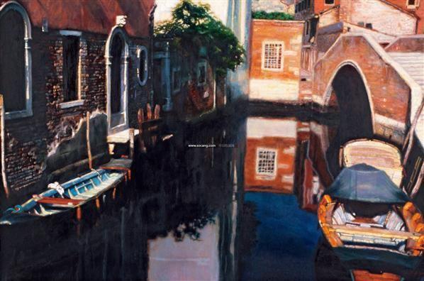 威尼斯运河 布上油画 - 153322 - 华人西画 - 2012年秋季暨十周年庆大型艺术品拍卖会 -收藏网