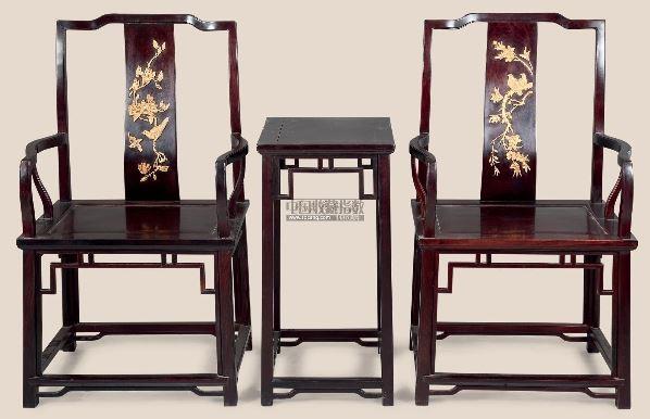 红木嵌黄杨木雕花鸟太师椅 (三件)
