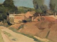 我的画室在右边 布面 油彩 -  - 中国油画及雕塑 - 2012年秋季拍卖会 -收藏网