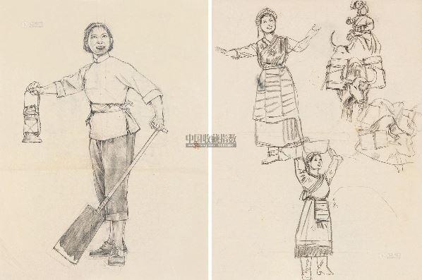 藏族歌舞速寫 紙本-程十發-雙國粹-2013春季
