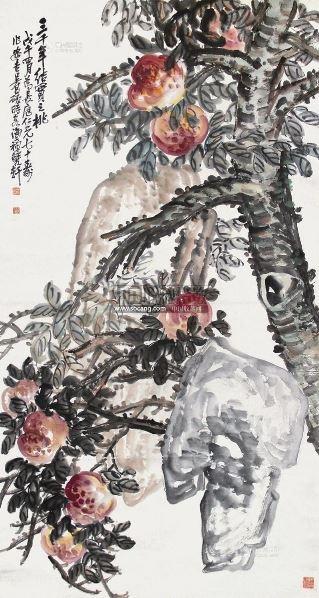 寿桃 立轴 设色纸本 - 116056 - 中国书画(一) - 2013年春季拍卖会第428期 -收藏网