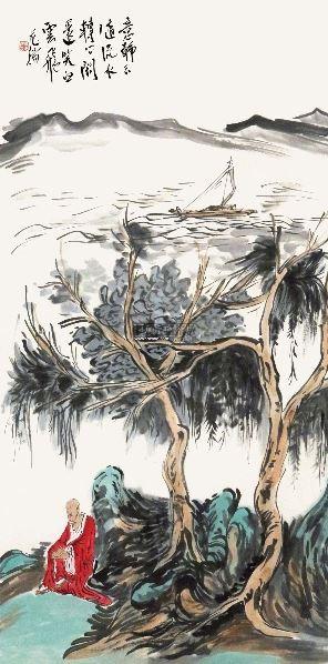 孤舟罗汉图 立轴 设色纸本 - 119496 - 中外书画精品 - 2012年《第一拍卖厅》冬季专场拍卖会 -收藏网