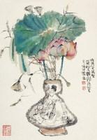 瓶花 镜片 设色纸本 - 程十发 - 中国书画 - 2012年秋季艺术品拍卖会 -中国收藏网
