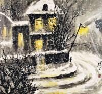 雪夜 镜片 纸本 -  - 中国书画 - 2013年首届艺术品拍卖会 -收藏网