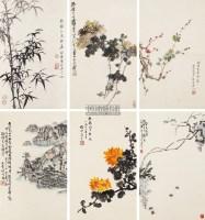 花卉 六屏六条轴 设色纸本 - 高时敷 - 中国书画(三) - 2013年春季艺术品拍卖会 -中国收藏网