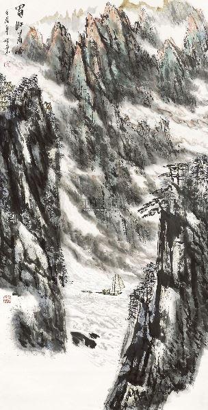蜀江晨曲 立轴 - 33135 - 当代书画保真返收购专场 - 2012年秋季当代书画保真返收购专场拍卖会 -收藏网