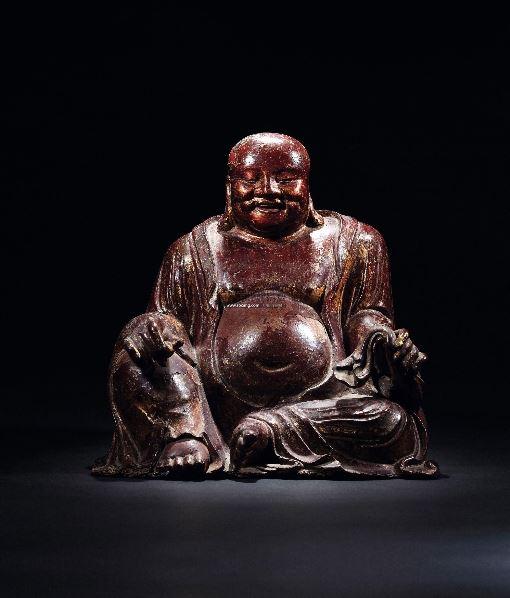 檀香木金漆弥勒佛座像