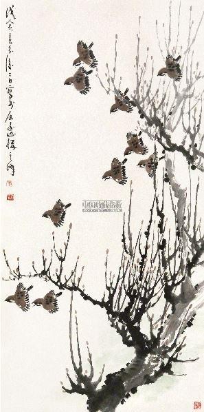 春日飞鸟图 立轴 设色纸本 - 1722 - 中外书画精品 - 2012年《第一拍卖厅》冬季专场拍卖会 -收藏网