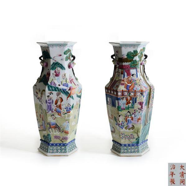 同治款粉彩群仙祝寿六棱瓶 -  - 古董珍玩 - 2013 年迎春大型艺术品拍卖会 -收藏网