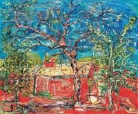 红砖墙和三棵树 布面 油彩 - 贾涤非 - 中国油画及雕塑 - 2012年秋季拍卖会 -收藏网