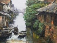 水乡 布面油画 - 155649 - 华人西画 - 2012年秋季暨十周年庆大型艺术品拍卖会 -收藏网
