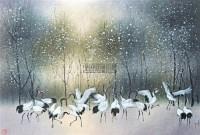鹤舞白桦 镜框 - 林湖奎 - 瓷杂 书画拍卖 - 2012年春季艺术品拍卖会 -收藏网