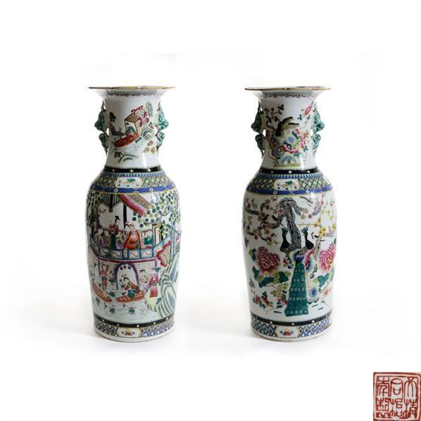 同治款粉彩人物故事纹兽耳大瓶 -  - 古董珍玩 - 2013 年迎春大型艺术品拍卖会 -收藏网