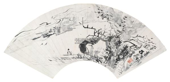 指画山水 扇面 水墨纸本 - 116858 - 中国名家书画 - 2012年秋季中国名家书画拍卖会 -收藏网