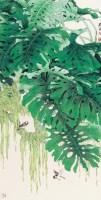 绿叶飞禽图 立轴 设色纸本 - 119040 - 中国书画(三) - 2013年迎春艺术品拍卖会 -收藏网