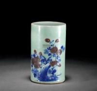 绿釉锦地纹笔筒 -  - 古董珍玩 - 2012春季艺术品拍卖会 -收藏网